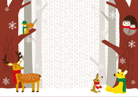 Winter Forests and Animals Background Illustration