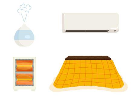 Winter Home Appliances Set Illustration