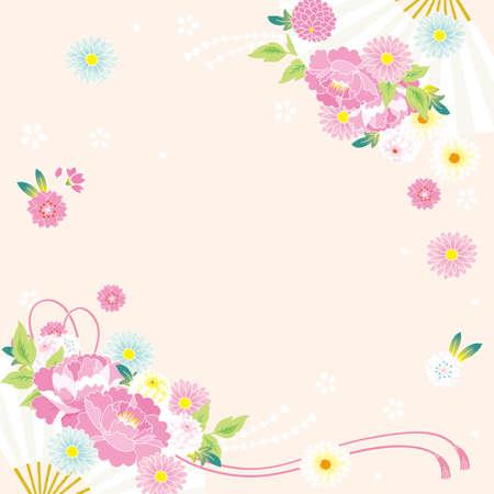 Fan and Japanese flower pattern Background illustration