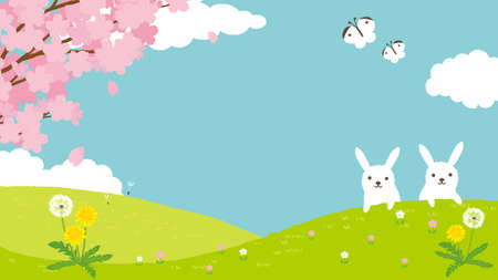 Spring Landscape Background Illustration