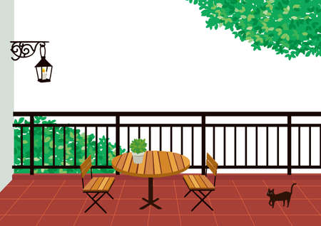 Balcony table and chair illustration 向量圖像
