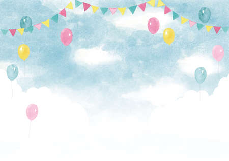Event background watercolor illustration with balloons and sky
