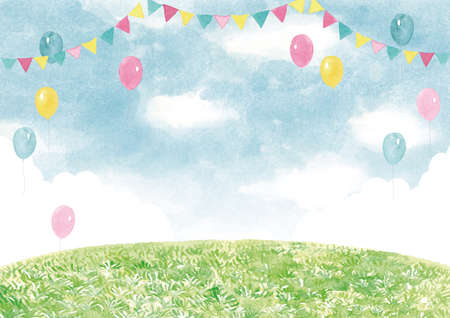 Event background watercolor illustration lawn and sky