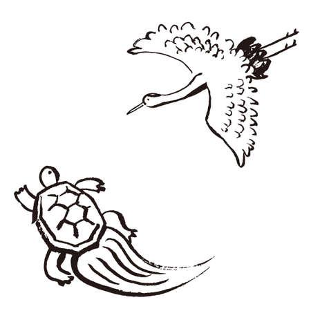 Crane and Tortoise Sumi-e Set 일러스트
