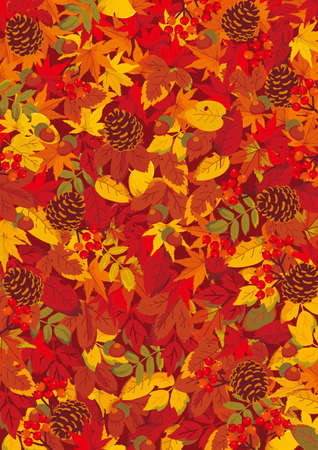 Mwood and autumn fallen leaves background illustration