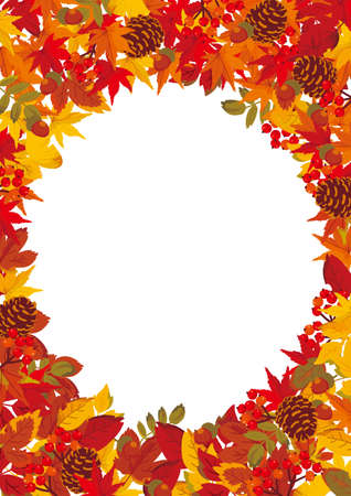 Mwood and Autumn Fallen Leaves Frame