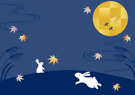 Rabbit looking at the moon at 15 nights background illustration 일러스트
