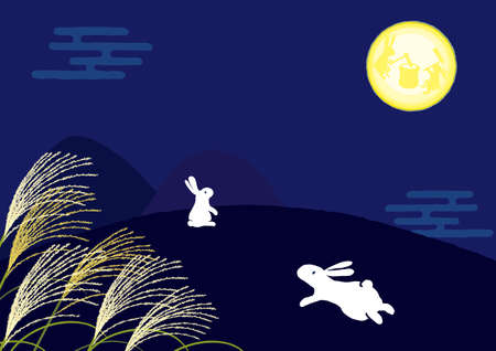 Rabbit looking at the moon at 15 nights background illustration 스톡 콘텐츠