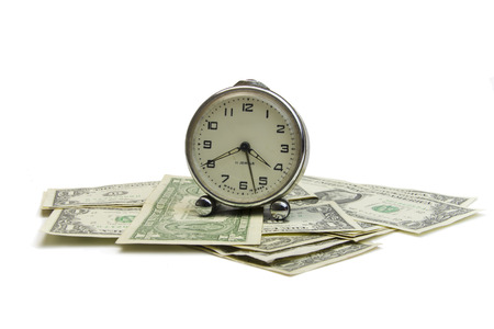 clock and money on isolated white background photo