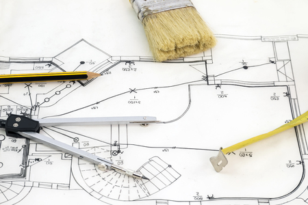 profile measurement: New house sketch drawing with pencil compasses and tape measure Stock Photo