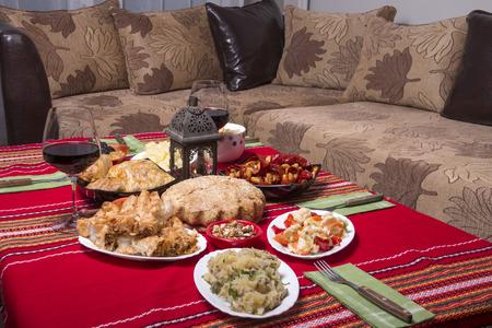 Traditional bulgarian christmas table setup, vegetarian food photo