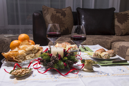 Holiday Table With Appetizers, Food and Wine photo