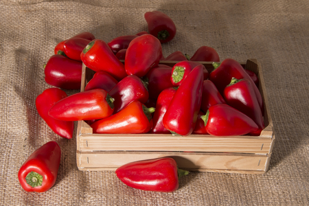 wooden crate: fresh red sweet peppers in a wooden crate Stock Photo