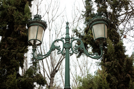 electric green: electric green street lamp, vintage electric style.