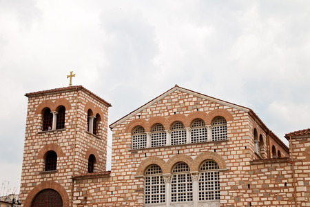 pantocrator: An exterior view of a beautiful historic church in Thessaloniki, Greece