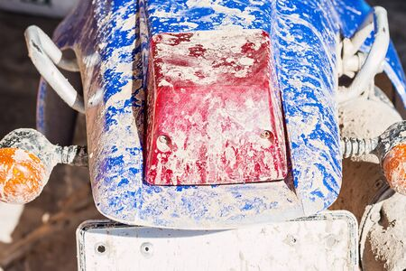 tail light: old motorcycle with dirty tail light box and rightsign light box Stock Photo