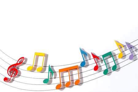 Color Wooden Musical Notes With Shadows Over Glass