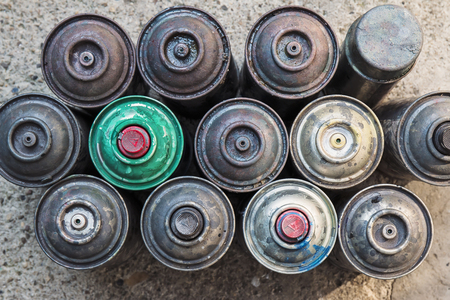 aerosol: Old used rusty Aerosol Spray cans, ideal background