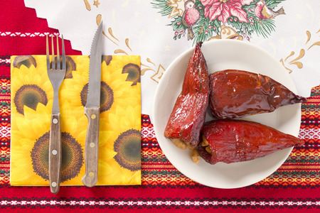 bulgarian: Red Peppers Stuffed With Beans. Traditional Bulgarian Christmas Eve Dinner Stock Photo