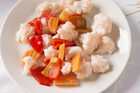 cauliflower: Variety of pickled vegetables. Cauliflower carrot pickle pepper