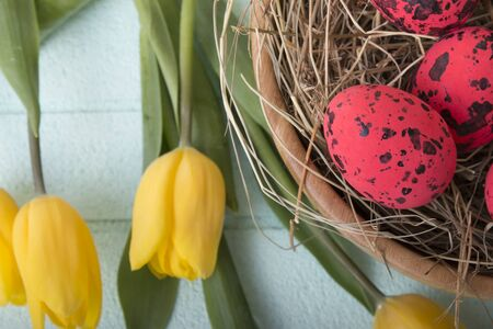 Easter background with red eggs and yellow tulips over blue background
