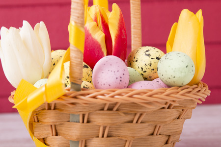 Colorful Easter eggs and tulips in basket on red background