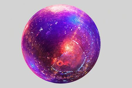 Discoball on gray background blue anred shine
