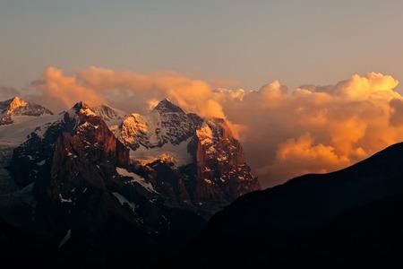 Sunset on mountains in Switzerland Stock Photo