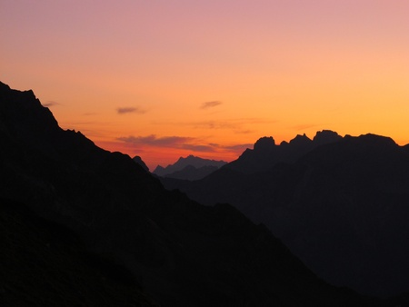 glarus: sunrise in the mountains of glarus Stock Photo