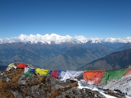 Prayer flags in the Himalayas, Nepal Stock Photo