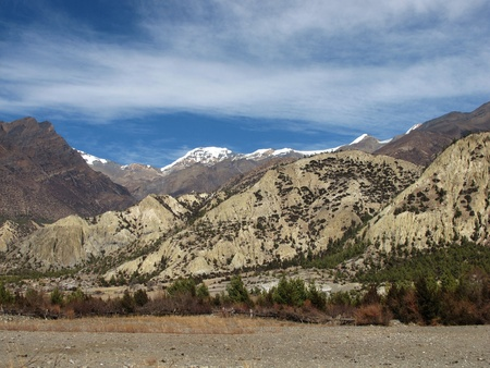 Impressive limestone formations in the Himalayas Stock Photo
