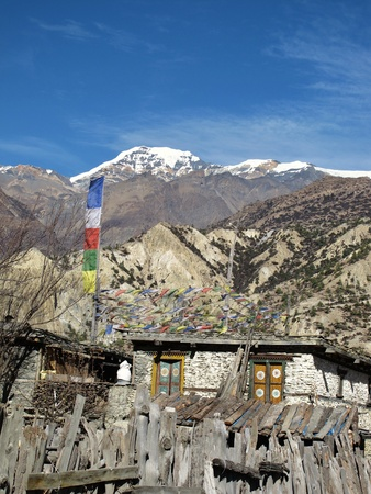 traditional house: Traditional house, prayer flags, Nepal