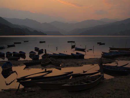tal: Fewa Tal and boats, Pokhara  Stock Photo