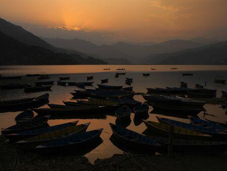 pokhara: Sunset in Pokhara Stock Photo