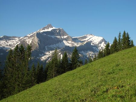 canton berne: Mountain in the Bernese Oberland, named Oldenhorn Stock Photo