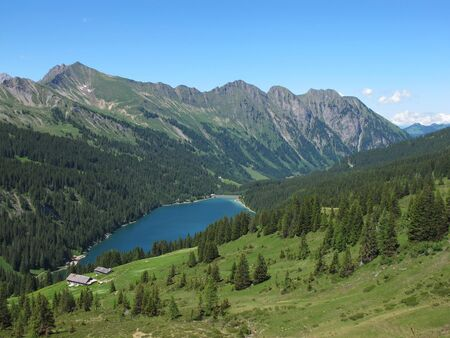 gstaad: Beautiful lake Arnensee Stock Photo