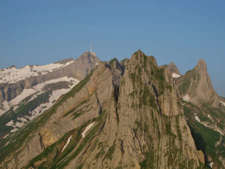 Impressive peaks of the Mt  Saentis Stock Photo