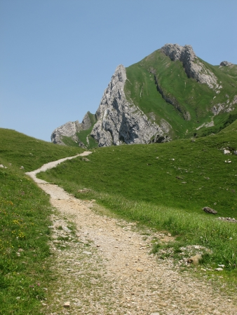 Foot-path in the mountains of Appenzell Canton