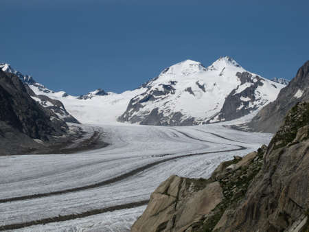 Aletsch Glacier and mountains Monch and Eiger