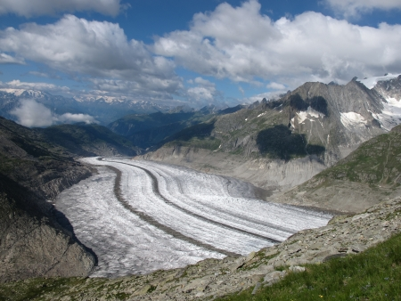 View down the Aletsch valley photo