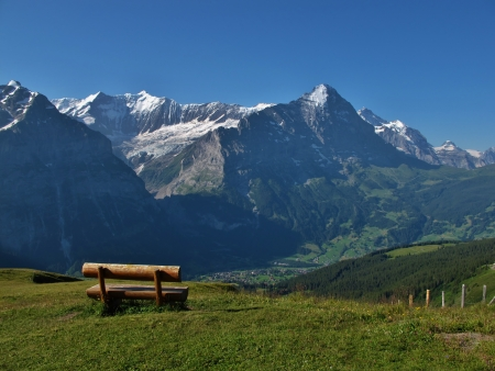 eiger: View Of The Eiger And Grindelwald Stock Photo
