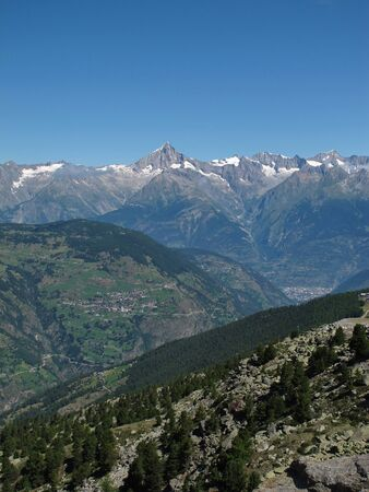 Mountains And The Villages Toerbel and Visp Stock Photo - 15193661