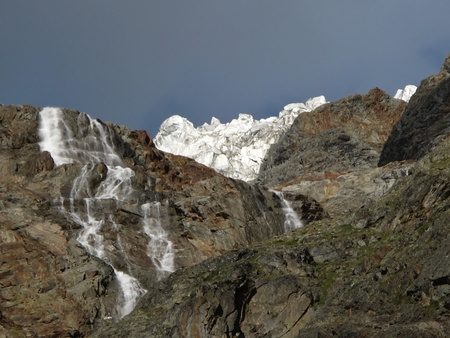 Glacier And Waterfall In The Canton Valais