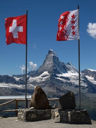 valais: Flags Of Switzerland And Canton Valais  Matterhorn