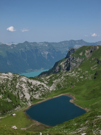 oberland: Blue And Turquoise Lakes In The Bernese Oberland Stock Photo