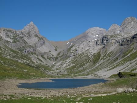 Blue Lake Glattalpsee And Mountains