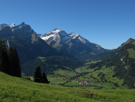 Beautiful Village Named Gsteig Bei Gstaad, Swiss Alps Stock Photo