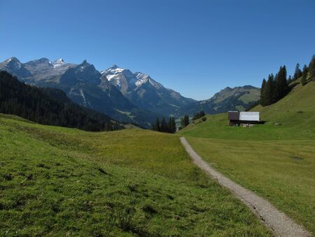 bernese oberland: Trekking Path In The Bernese Oberland