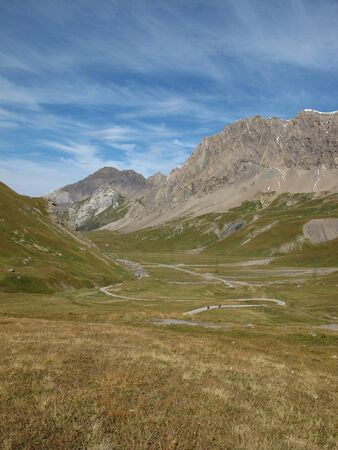 Sloped Road Of The Sanetschpass, Mountains Stock Photo