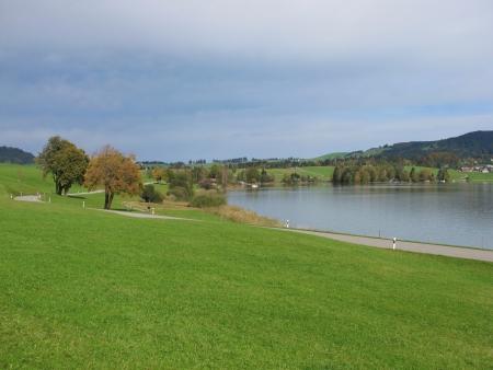 Lake Sihlsee And Colorful Trees Stock Photo